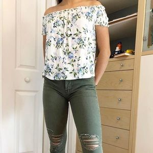 American Eagle White Floral Off-The-Shoulder Top